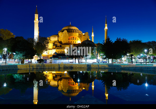 Hagia Sophia reflected in pool, Istanbul,Turkey - Stock Image