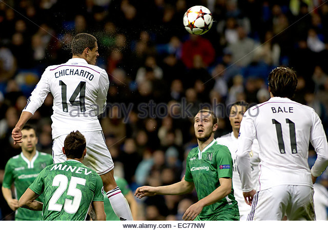 SPAIN, Madrid: Real Madrid's Mexican forward Javier Hernandez Chicharito during the Champions League 2014/15 - Stock Image