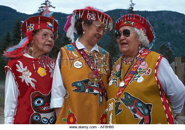 Alaska Haines Tlingit Native American senior women Gei Sun Dancers tribal costume regalia - Stock Image