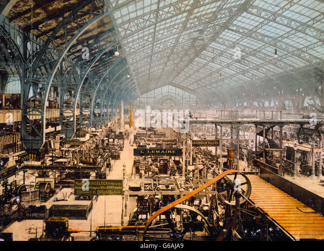 Paris Exposition, 1889. Interior view of the Gallery of Machines, Exposition Universelle Internationale de 1889, - Stock Image