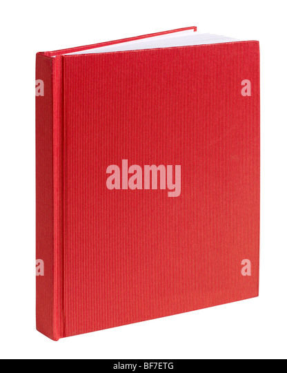 Red hard cover book journal ledger sketch draw - Stock Image