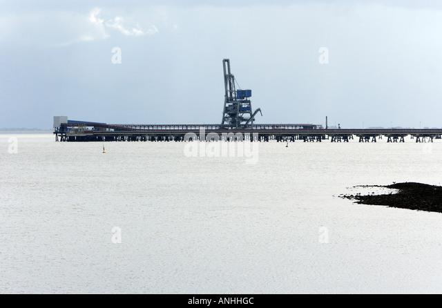 Oil terminal in the Jadebusen in the North Sea - Stock-Bilder
