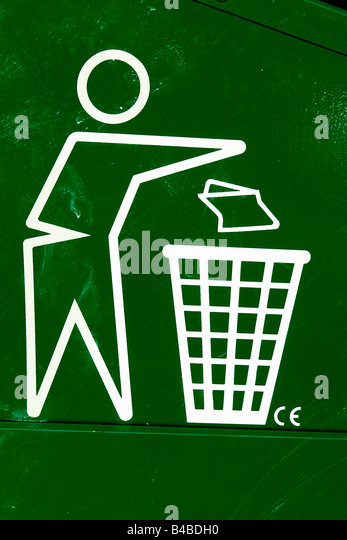 Closeup Detail of the Trash Symbol on a Green Recycling Bin Copy Space - Stock Image