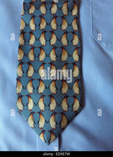 Interesting vintage rack Beaufort Penguin tie, male neckware in silk - Stock Image