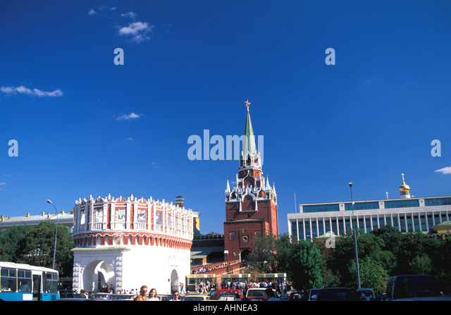 Moscow Russia Kremlin Trinity Tower Gate - Stock Image