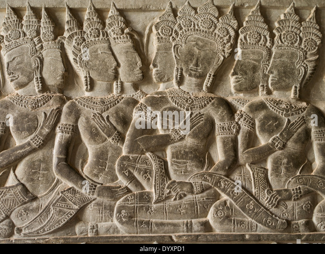 Bas relief carvings wat unesco siem stock photos