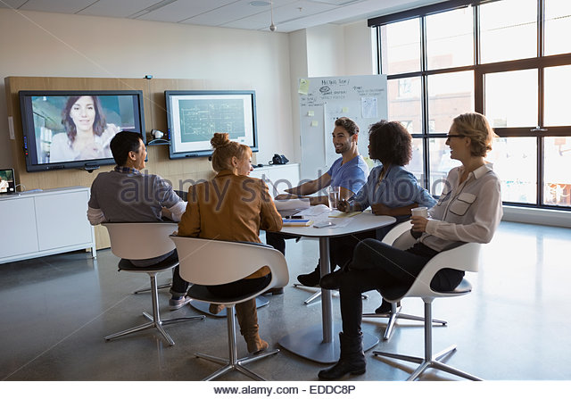 Business people video conferencing - Stock Image
