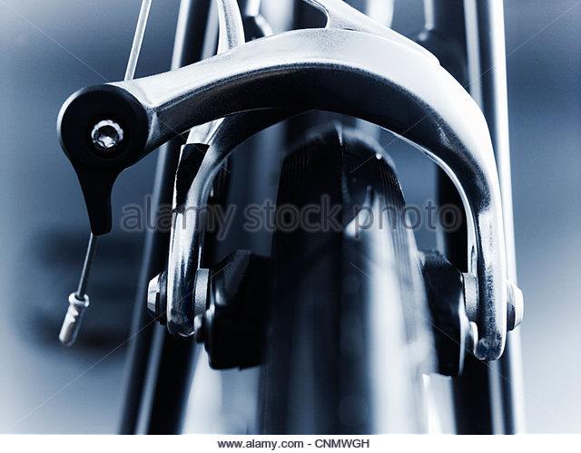 Close up of bicycle brake - Stock Image