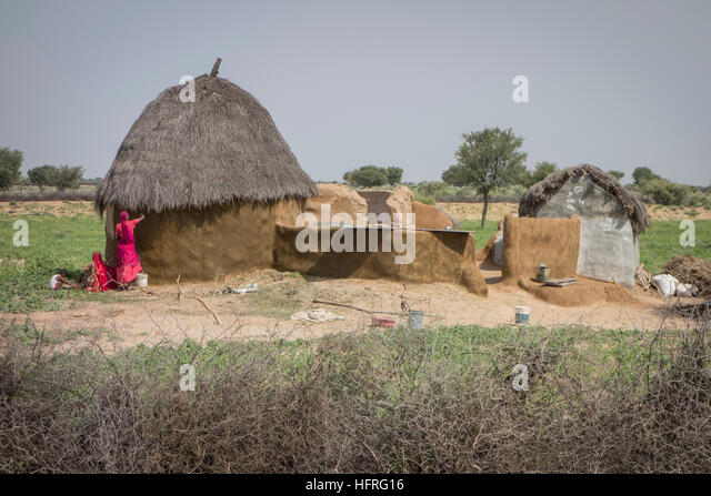 Woman adding fresh layer of daub to a hut made by the wattle and daub construction technique. Rajasthan, India. - Stock Image