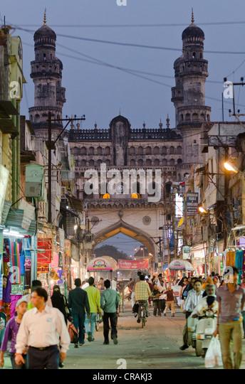 Bazaar near the Charminar monument, Hyderabad, Andhra Pradesh, India, Asia  - Stock