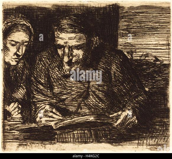 Alphonse Legros, Account Book (Le livre de comptes), French, 1837-1911, etching - Stock-Bilder