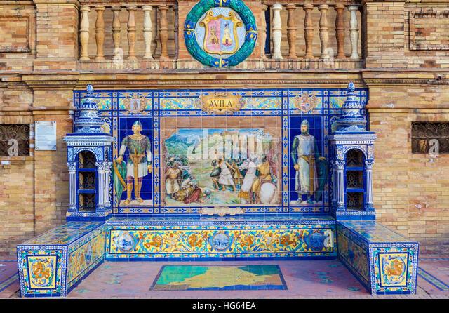 Glazed tiles bench of spanish province of Avila at Plaza de Espana, Seville, Spain - Stock Image