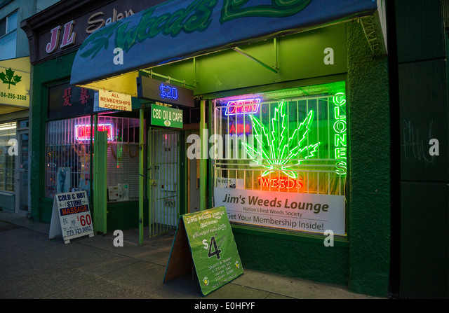 Jim's Weeds Lounge, medical marijuana dispensary, DTES, East Hastings St, Vancouver, British Columbia, Canada - Stock Image