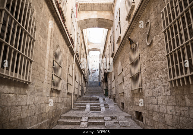 street in jerusalem old town in israel - Stock Image