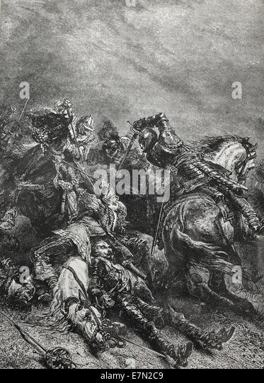 Death of Gustavus Adolphus at Lutzen November 6, 1632 - Stock Image