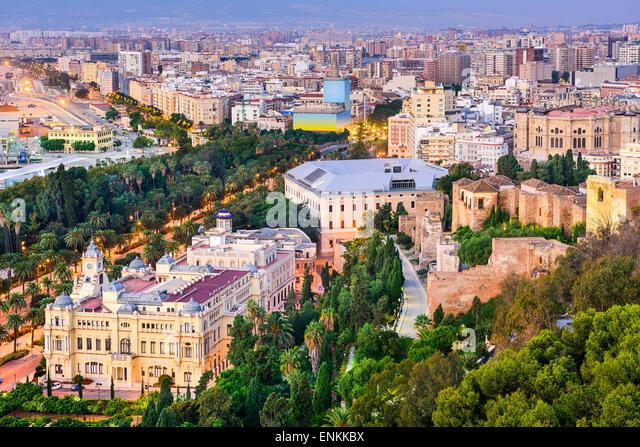 Malaga, Spain cityscape. - Stock Image