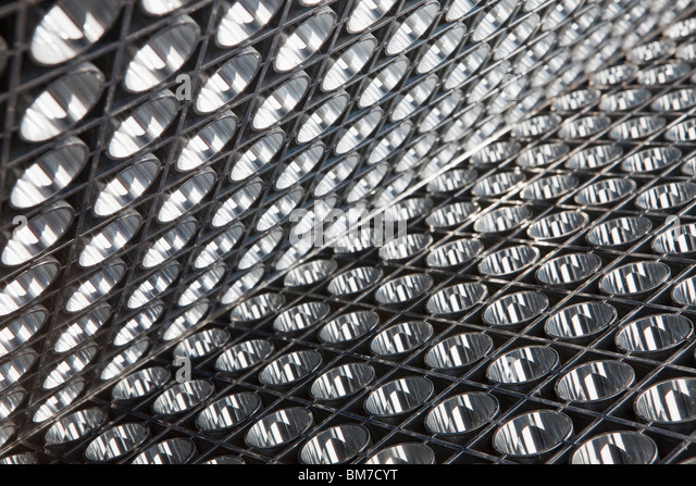 Detail of a panel of reflective lights - Stock Image