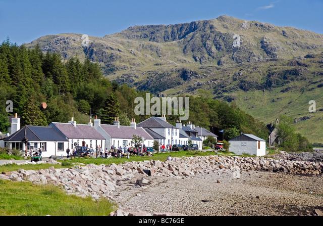 The village of Inverie in Inverie Bay Loch Nevis on Knoydart the West Highlands of Scotland - Stock-Bilder