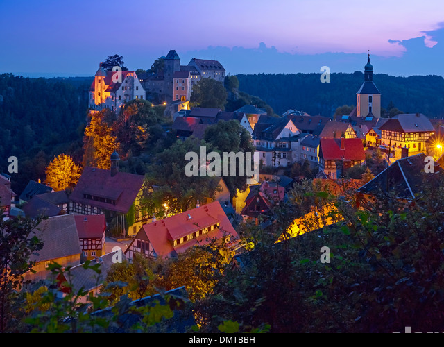 Hohenstein castle and city, Saxon Switzerland-East Ore Mountains, Saxony, Germany - Stock Image