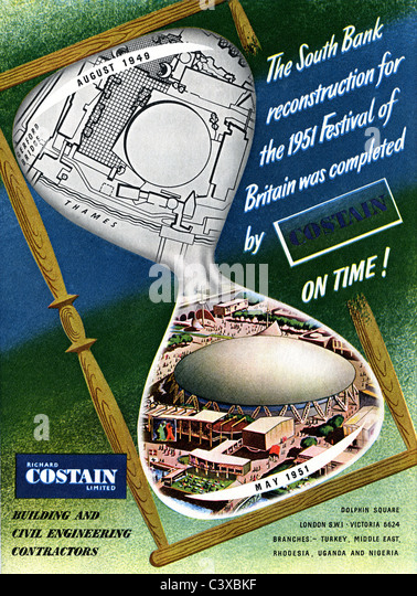 Advertisement for Costain, from The Festival of Britain guide, published by HMSO. London, UK, 1951 - Stock-Bilder
