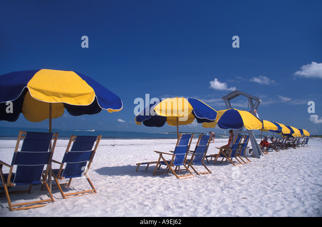 Florida USA Caladesi Island State Park number 1 beach in USA 2008 Beach Chairs next to the Gulf of Mexico shoreline - Stock Image