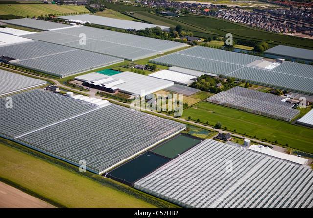 The Netherlands, Utrecht, Greenhouses. Aerial. - Stock Image
