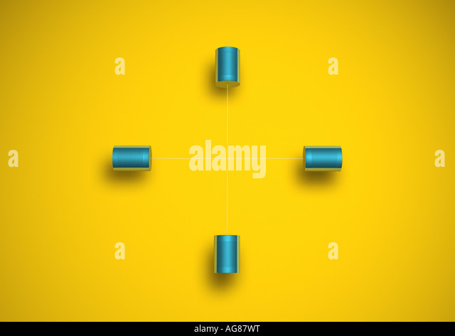 Phone made from cord and tin cans Dosentelefon - Stock Image