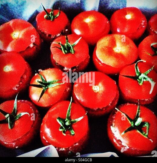 Stuffed tomatoes - Stock Image