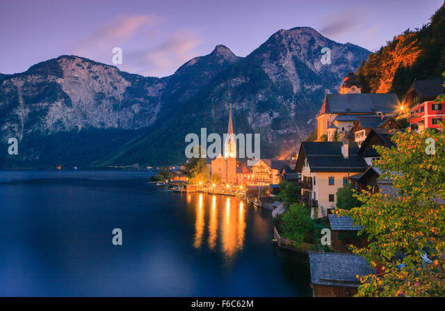 Sunrise in Hallstatt, in upper Austria is a village in the Salzkammergut, a region in Austria. - Stock Image