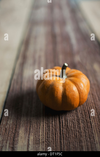 A small round pumpkin or squash vegetable with a bright orange skin on a wooden tabletop - Stock Image