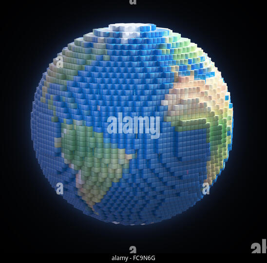 Earth globe made out of voxel 3d cubes - Stock-Bilder