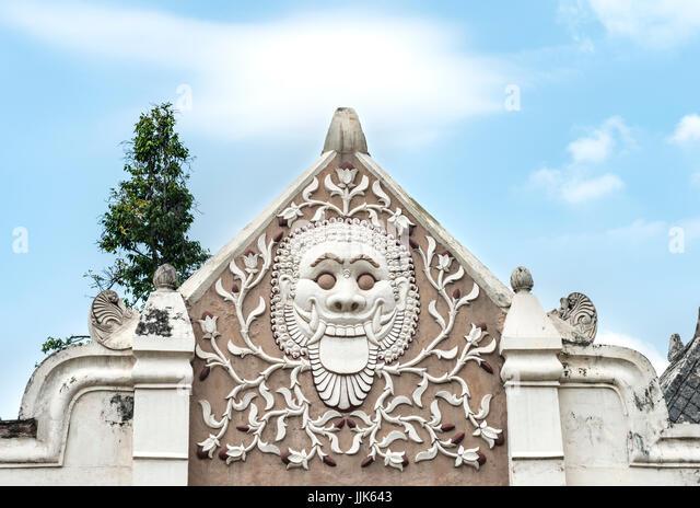 Relief of a grimace on an archway, Water Castle Taman Sari, Kraton, Daerah Istimewa Yogyakarta, Java Tengah, Indonesia - Stock Image