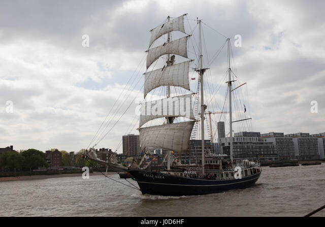 Woolwich, London, UK. 12th Apr, 2017. Tall Ship Festival The Royal Arsenal Woolwich. The Morgenster sailing past - Stock Image