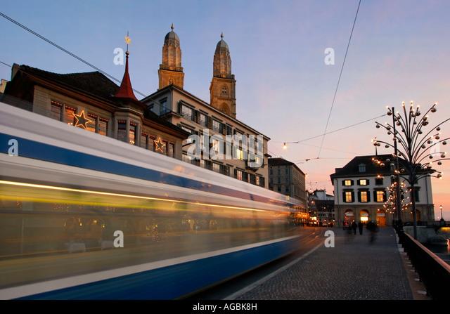 Switzerland Zurich Limmatquai tram Grossmunster christmas illumination - Stock Image