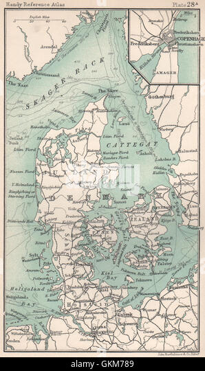 Denmark. Inset Copenhagen. BARTHOLOMEW, 1904 antique map - Stock Image