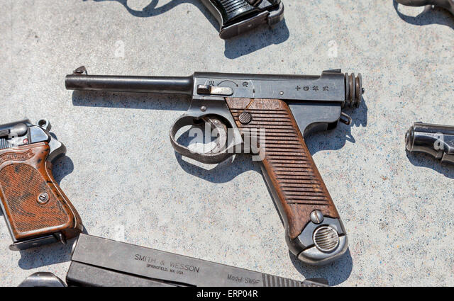 Type 14 Nambu WW2 Imperial Japanese Army 8mm Pistol - Stock Image