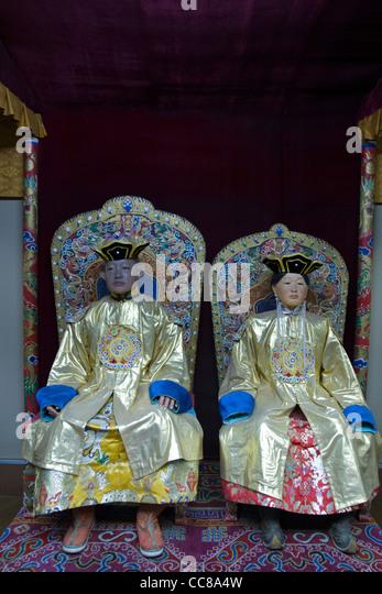 Royal Mongolian costumes National Museum of Mongolian History Ulaanbaatar Mongolia - Stock Image
