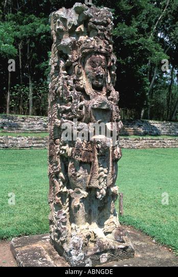 Honduras Copan Ruinas Maya ruins Mayan art sculpture stela F Great Plaza religion - Stock Image