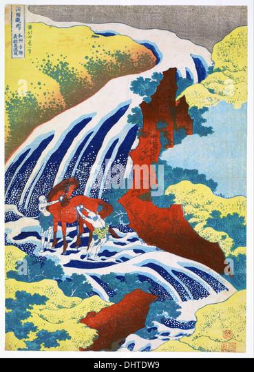 Yoshitsune Falls - by Katsushika Hokusai, 1833 - Stock Image
