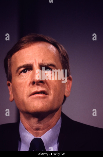 John Sculley, Apple CEO from 1983 until 1993, during a television appearance to  announce three new low-cost Macs - Stock Image