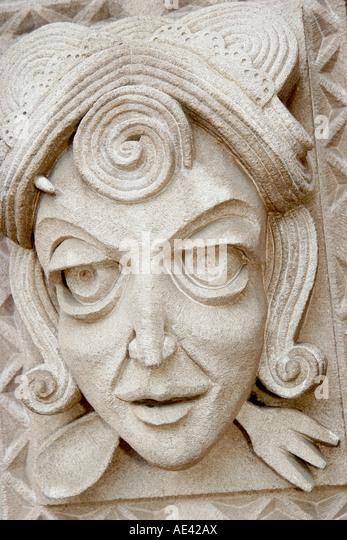 Ohio Cincinnati Mount Adams Historic Neighborhood Mt. Adams Bar and Grill face sculpture entrance - Stock Image