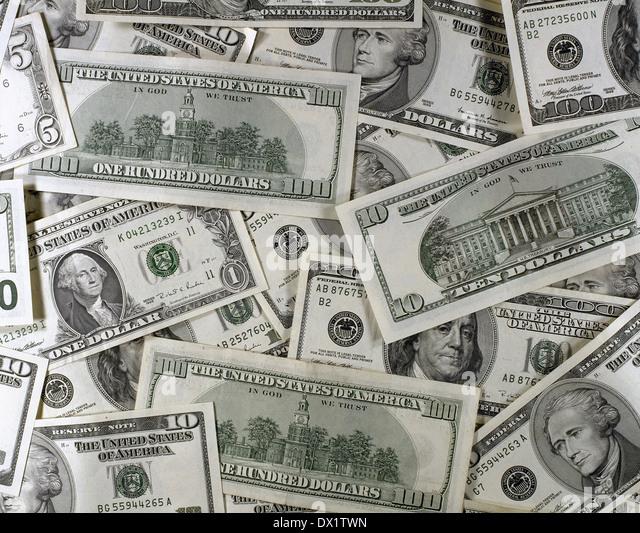 Still life of U.S. dollars. - Stock Image