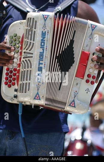 Florida, Zydeco Festival, accordion, music, Cajun, bellows, - Stock Image