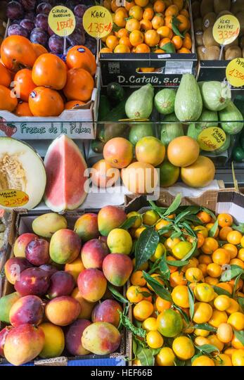 Covered market hall, fruits,La Palma, Canary Islands, Spain - Stock-Bilder