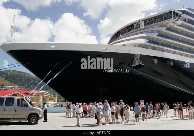 St. Thomas USVI Crown Bay Holland America Line ms Noordam shore excursion groups - Stock Image