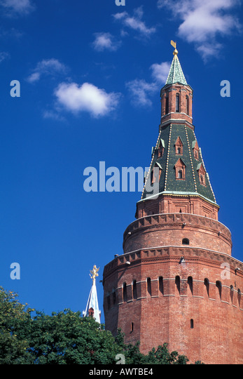 Mosocw Russia Kremlin Tower with bright blue sky - Stock Image