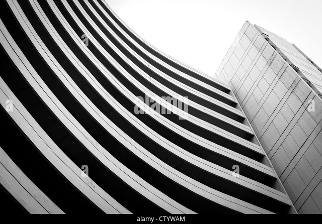Black and white old building curve shape - Stock Image