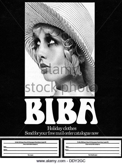 Biba mail order holiday clothes advert, 1969. - Stock-Bilder