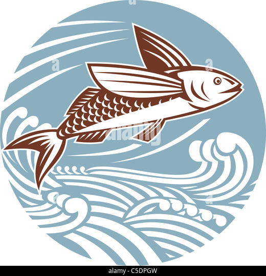 illustration of a flying fish with waves done in retro style set inside a circle - Stock-Bilder