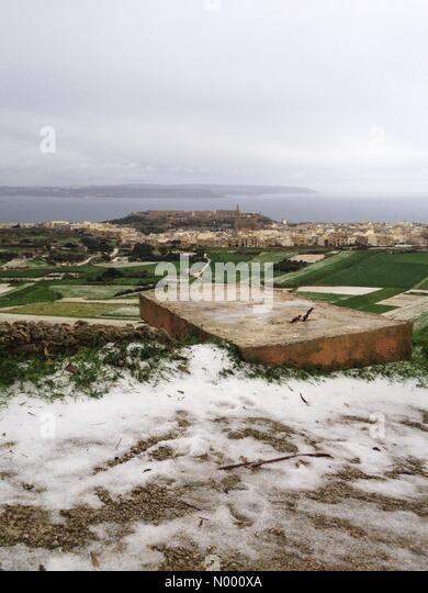 In-Nadur, Malta. 30th Dec, 2014. Hail storms cover Gozo and Malta overnight with more on the way. Temperatures reaching - Stock Image